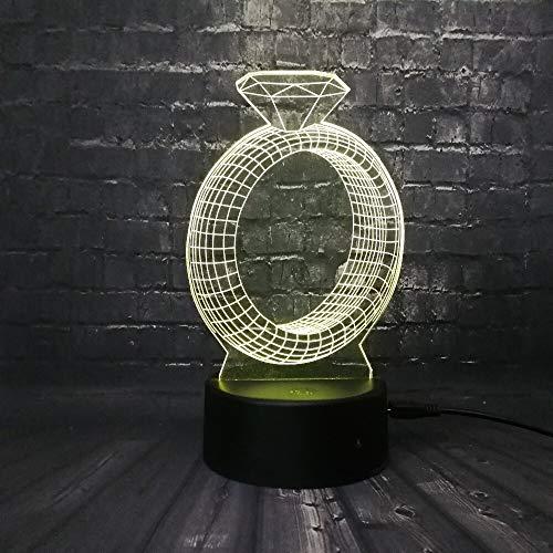 Suhang Diamant Design 3D USB LED-lamp meerkleurig sfeerverlichting nachtlampje accessoires zacht verliefd cadeau Touch Usb 7 Colors