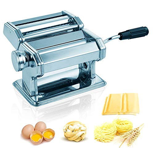 Preoin Homemade Pasta Maker Manual Pasta Machine with 8 Adjustable Thickness Settings Dough Roller for Fresh Fettuccine Lasagna Ravioli and Spaghetti