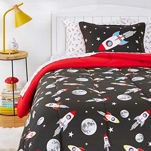 Amazon Basics Kids EasyWash Microfiber BedinaBag Bedding Set  Twin Space Rockets