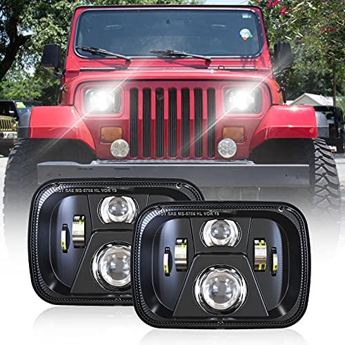DOT 110W 5x7 Inch Led Headlights 7x6 Hi Low Led Sealed Beam Headlamp Compatible with Jeep Wrangler YJ Cherokee XJ H4 Plug H6054 Headlights H5054 6054 6052(1 Pair)