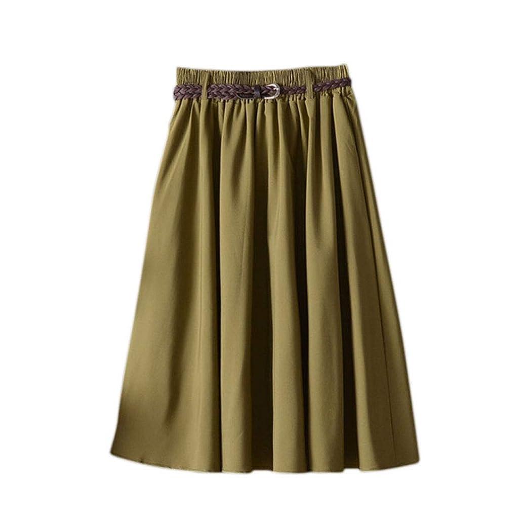 確かめるアラブサラボ常習者LamdooレディースサマーハイウエストプリーツAラインスイングフレアスクールスカートソリッドカラー弾性ウエストバンドヴィンテージドレス付きウエストベルト - アーミーグリーン