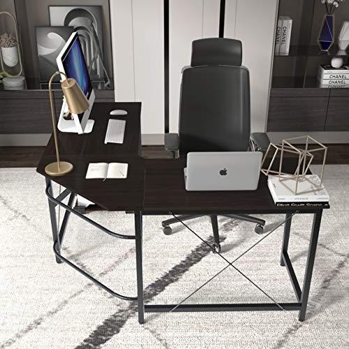 DlandHome Computertisch Eckschreibtisch 150 cm + 150 cm Winkelschreibtisch L-förmig, großer Gaming Schreibtisch Arbeitstisch Bürotisch PC Laptop Studie Tisch mit CPU-Ständer,Schwarz & Schwarz