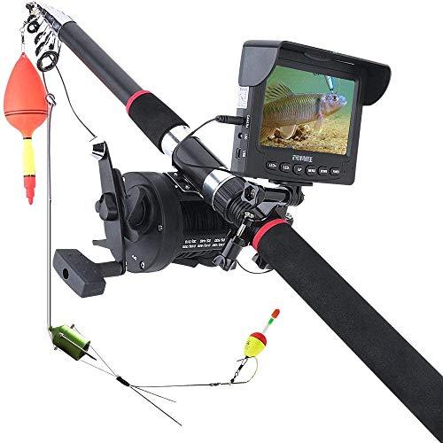 YUKM 4.3 Pulgadas Monitor Fish Finder, Cámara De Video Portátil Subacuática para La Pesca, Cámara De Visión Nocturna De La Rueda De Mar De 30 M del Cable (10Pcs LED)