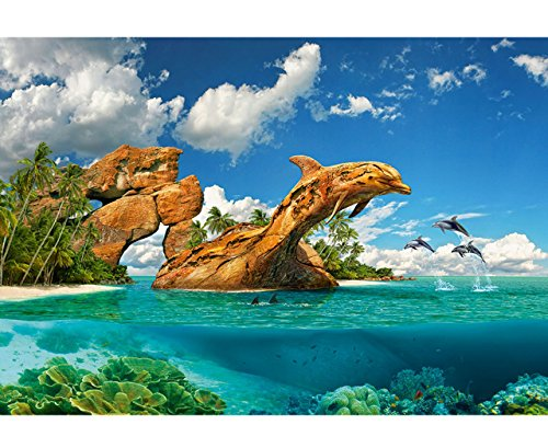 alles-meine.de GmbH Puzzle 1000 Teile -  Delfin - Paradies / Ozean  - Zeichnung - Gemälde / Unterwasser Fische - Tropen / Südsee - Traumstrand - Delfine - Meerestiere - Meer / ..