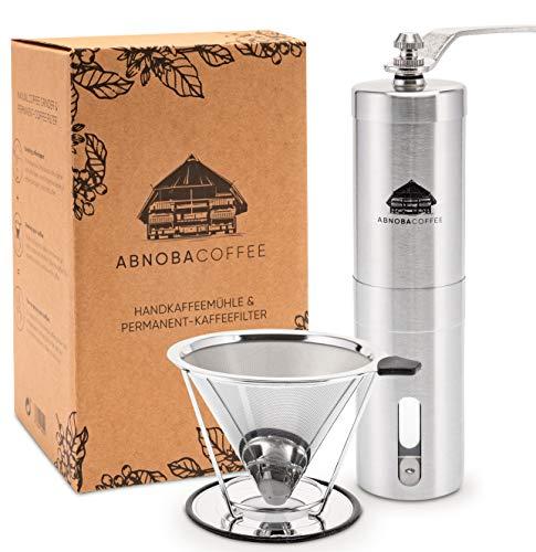 ABNOBACOFFEE Kaffee-Set | Handkaffeemühle mit Keramikmahlwerk | Kaffeefilter Edelstahl | Manuelle Kaffeemühle