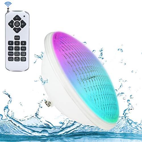 LED Poolbeleuchtung, 40W PAR56 RGB Schwimmbadleuchte. KOLLNIUN Unterwasserscheinwerfer mit Fernbedienung Poolbeleuchtung, 12V AC/DC IP68 Wasserdicht Pool Lampe [ Neue 2020 Version ]