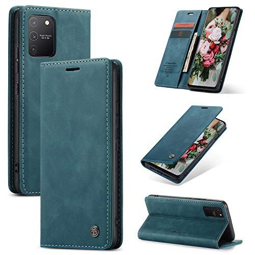 FMPC Handyhülle für Samsung Galaxy A91 Premium Lederhülle PU Flip Magnet Hülle Wallet Klapphülle Silikon Bumper Schutzhülle für Samsung Galaxy S10 lite Handytasche - Blaugrün