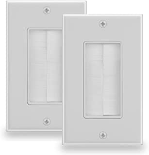 BATIGE Brush Wall Plate Anti-dust Wall Mount Panel Cable Pass Through Insert for Wires Single Gang Cable Access Strap Wall Socket Plug Port for HDTV HDMI Home Theater (1 Gang (2 Pack), White)
