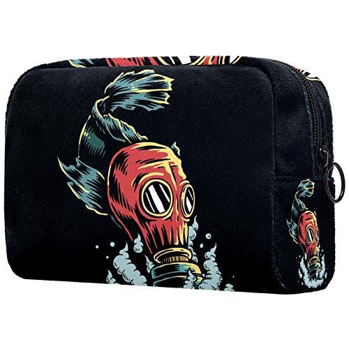 KAMEARI Bolsa cosmética de pescado con máscara de gas grande organizador de bolsas de viaje multifuncionales