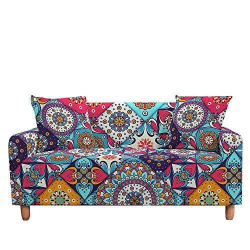 ASCV Funda de sofá Mandala Digital 3D Funda de sofá elástica Antideslizante Funda Protectora Funda de sofá elástica Suave para Sala de Estar A9 1 Plaza