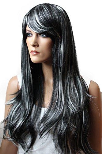 PRETTYSHOP Perruque complète unisexe regardant naturel lisse cheveux longs Cosplay Party Blanc noir # 1H80 PHK10a