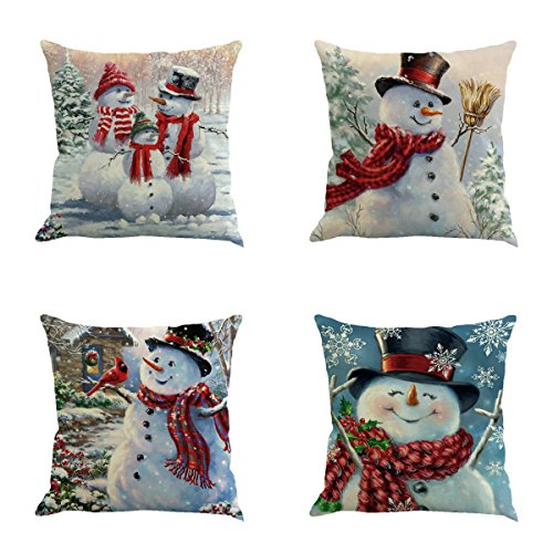 XIECCX Throw Pillow Cover 18 x 18 Inches Set of 4 - Christmas Series Cushion Cover Case Pillow Custom Zippered Square Pillowcase(Christmas Snowman)