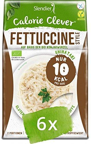 6 x Slendier Bio Konjak Nudeln, Fettuccine-Style, Kalorienarm, Shirataki, Quelle für Ballaststoffe, Glutenfrei 6 x 250 g