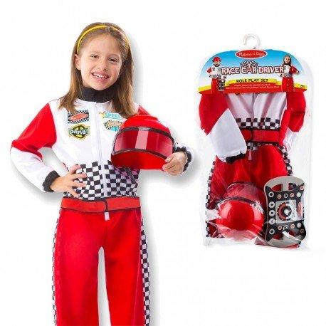 Melissa and doug - Costume déguisement de Pilote de course F1 pour enfants de 3 à 6 ans avec casque à visière + volant