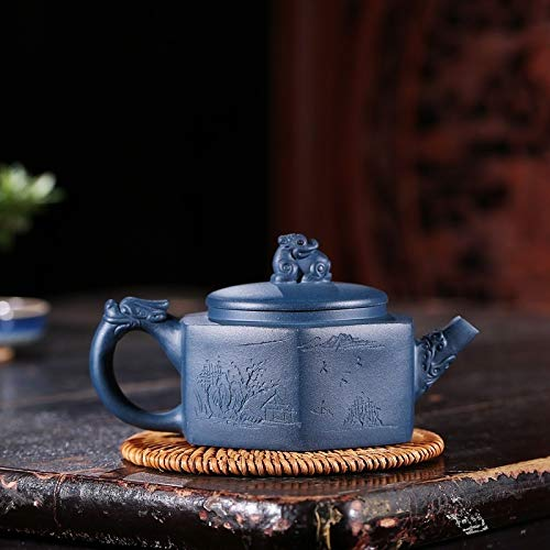 WANGZHI Tetera Famosa manivela de Mineral Fino Día Qingni De Las Seis Partes Cumplimiento del dragón Tetera de té de Kung Fu (Color : Azure mud)