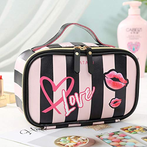 UKKD Neceser mujer Cuero Amor Corazón Portátil Mujeres Cosmética Almacenamiento De Viaje Multifuncional Organización Portátil Bolso Con Cremallera