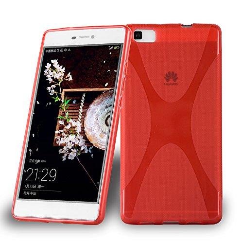Cadorabo Funda para Huawei P8 MAX en Rojo Infierno - Cubierta Proteccíon de Silicona TPU Delgada e Flexible con Antichoque - Gel Case Cover Carcasa Ligera