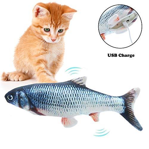 AFFINEST Elektrische Katzenspielzeug mit Katzenminze Interaktive Spielzeug für Katze Plüsch Kauen SpielzeugSimulation Fisch Katzenspielzeug,A