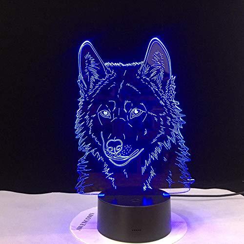 Lâmpada de ilusão 3D, luminária noturna para crianças, lobo decorativo, 3D, para quarto, modelo animal, visão estéreo, acrílico, luzes LED USB, 7 cores que mudam de cor, luminária de toque para crianças ZHUILWL