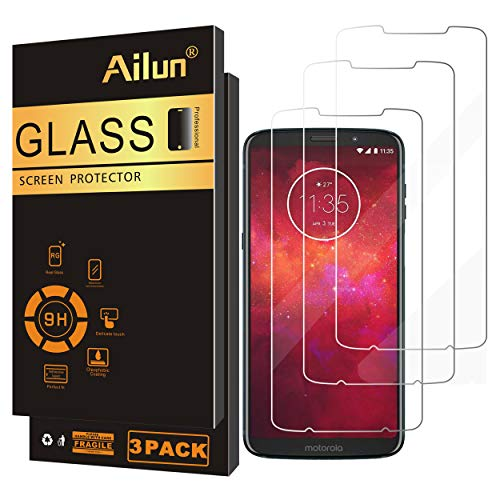 Ailun Screen Protector Compatible Moto Z3 Z3 Play 3 Pack Tempered Glass 9H Hardness Ultra Clear Anti Scratch Fingerprint Oil Stain Coating Case Friendly