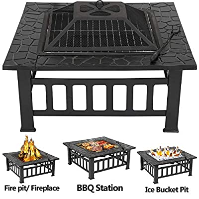 HANGKAI 32in Square Fire Pit Backyard Patio Garden Stove Wood Burning Fireplace -3 in 1 BBQ Grill, Cooler, and Fire Bowl w/Large Spark Screen, Log Poker and Cover