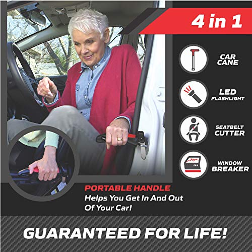 The Original Emson Car Cane – All-in-One Auto Assist Handle with Built in LED Flashlight, Seatbelt Cutter, and Window Breaker –, Batteries Included