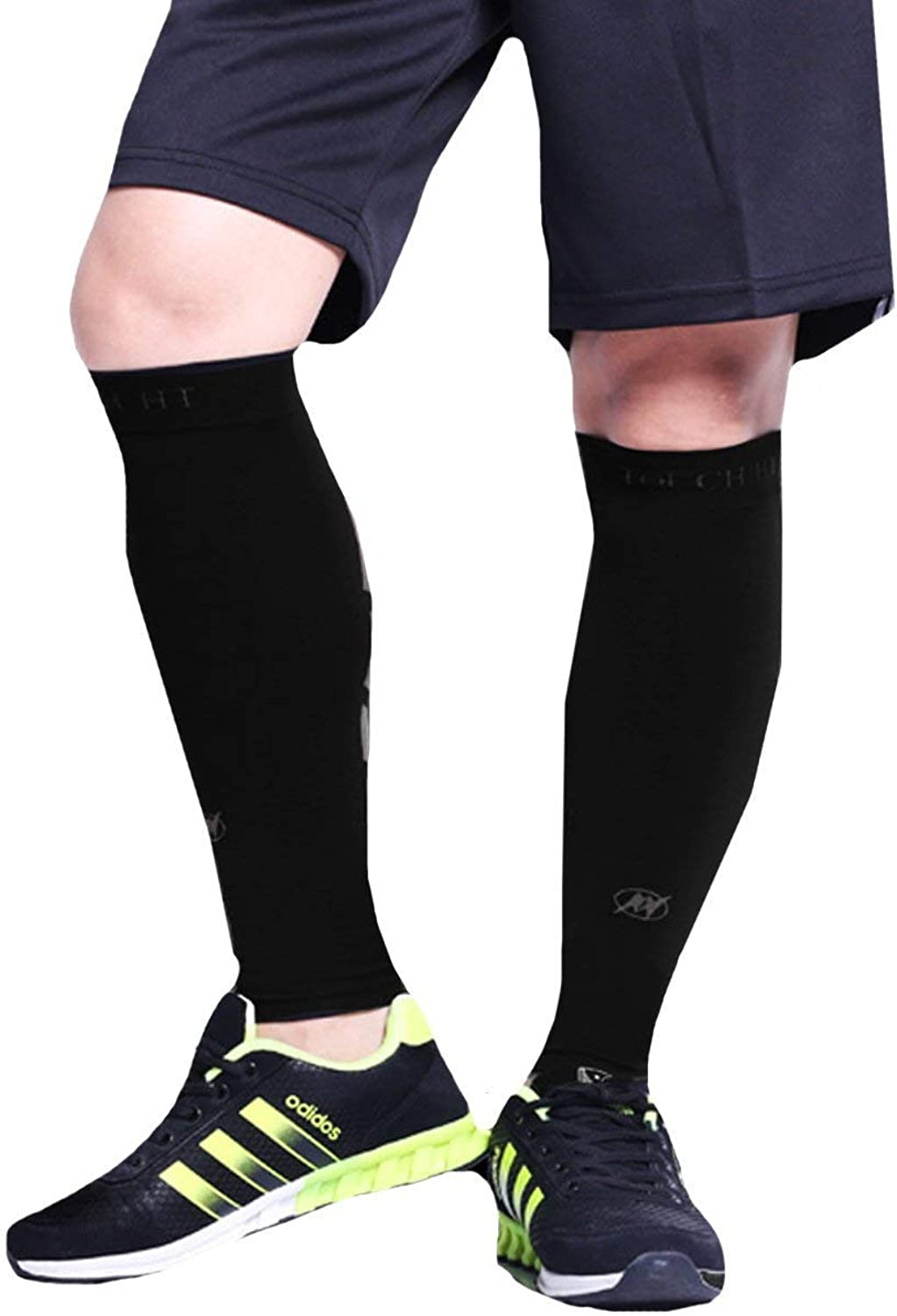 Rebecca Men Women Calf Compression Sleeve Socks Leg Performance Support Calf Pain Relief for Sports, Running, Cycling (One Count Black)