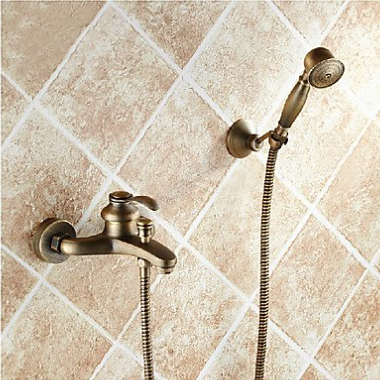 GFFXIXI Antique Tub And Shower Handshower Included Ceramic Valve Two Holes Single Handle Two Holes Antique Brass, Shower Faucet Bathtub Faucet
