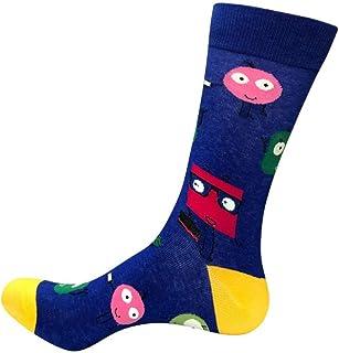 Calcetines De Hombre 3 Pares/Nuevo Colorido De Los Hombres S Algodón De Moda Calcetines De Boda Divertido Casual Crew Skateboard Calcetines Novedad Regalos Azul