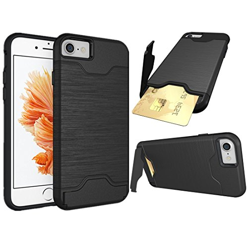 iPhone 8 Case, iPhone 7 case, NOKEA Card Holder Dual Layer Advanced Shock Absorption Protective with Card Holder and Kickstand Wallet Case for iPhone 8 / iPhone 7 (Black)