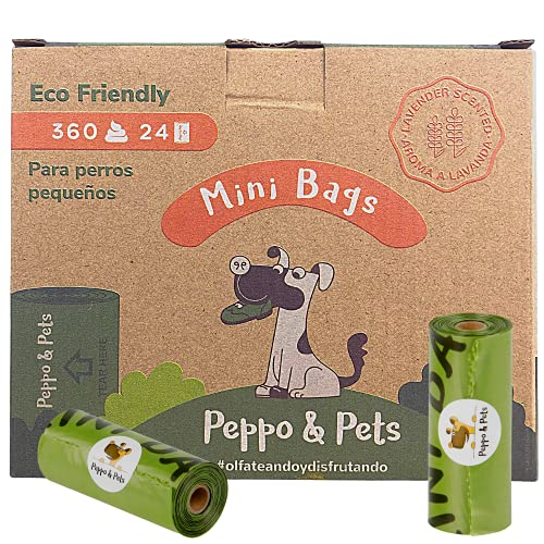 Peppo and Pets- 360 Mini Bolsas Caca Perro TAMAÑO PEQUEÑO -(24 Rollos) - Biodegradables- Muy Resistentes - Olor a Lavanda- Opacas- A Prueba de Fugas
