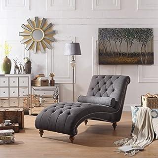Rosevera Teofila Tufted Chaise Lounge Chair, Standard, Charcoal (B076V85CBH)   Amazon price tracker / tracking, Amazon price history charts, Amazon price watches, Amazon price drop alerts