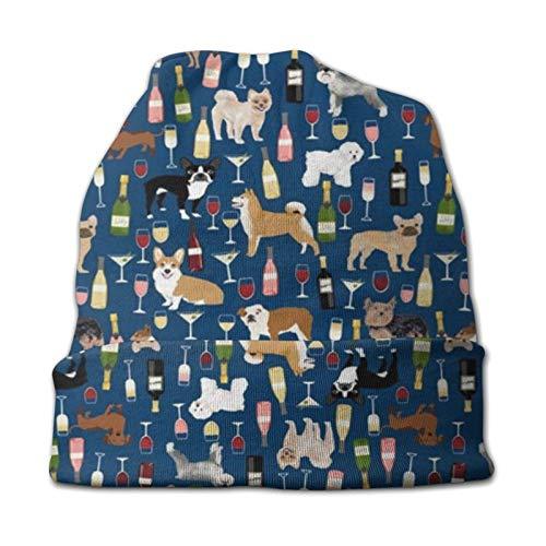 Dogs and Wine Gorro para niños con Vino Tinto, Vino Blanco, Rosa y champán Bubbly Dogs - Gorra de algodón para niños