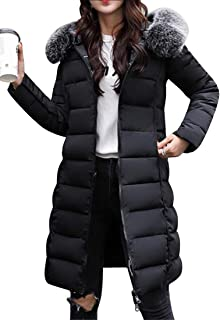 FSSE Women's Faux Fur Winter Thicken Hooded Mid Long Down Quilted Jacket Coat Black XL
