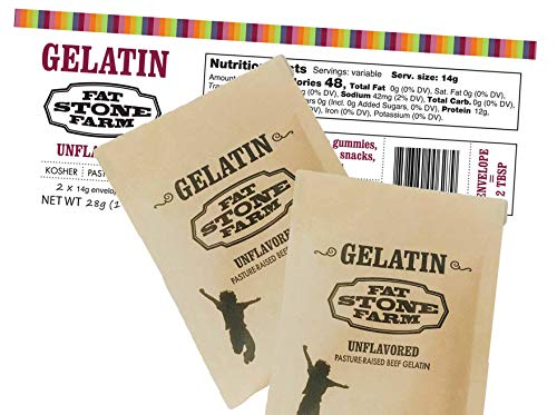 Fat Stone Farm Kosher Beef Gelatin Powder (Unflavored) - - 2 x Single Serving ½ oz Paper Packets (NEW)