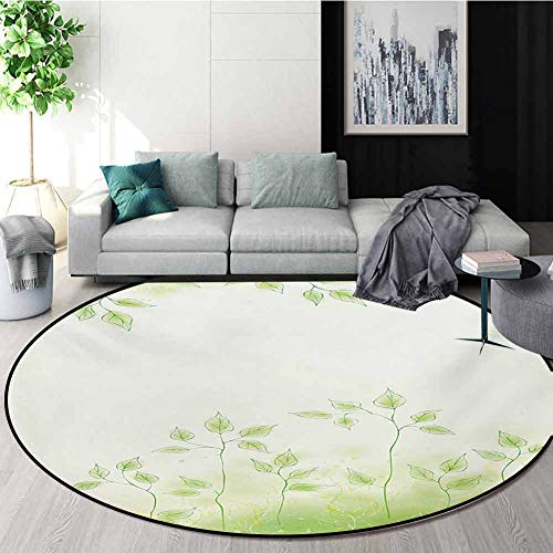 Check Out This RUGSMAT Forest Small Round Rug Carpet,Fresh Foliage Design with Pastel Colored Leaves...