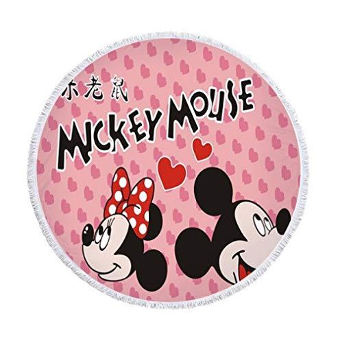AMZJIEFU Disney Cartoon rosa Minnie Mickey Mouse Mikrofaser weiche runde Sommer dünne Decke Bad Strandtuch mit Quasten für weibliche Mädchen-G
