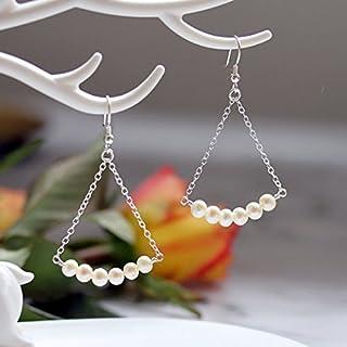 Pendientes de perlas de agua dulce, plata de ley 925 maciza, pendientes colgantes y pendientes de gota, pendientes de perl...