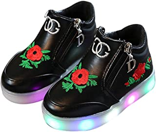 Girls Boy Kids Fashion Sneakers Side Zip Luminous Child Casual Colorful Rose Light Up Shoes