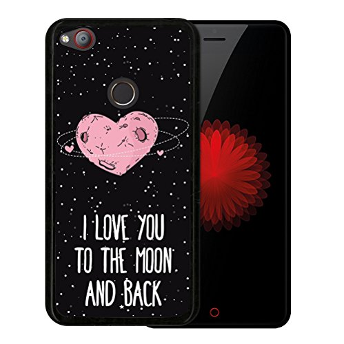 WoowCase ZTE Nubia Z11 Mini Hülle, Handyhülle Silikon für [ ZTE Nubia Z11 Mini ] Herz Liebe Satz - I Love You to The Moon and Back Handytasche Handy Cover Case Schutzhülle Flexible TPU - Schwarz