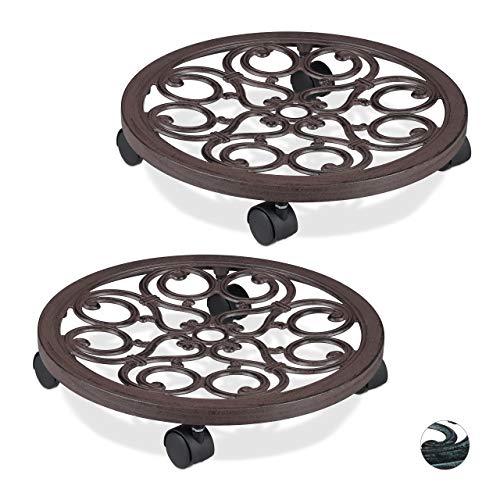 Relaxdays 2 x Pflanzenroller rund, Metall, Gefäßroller für innen & außen, antik, Ø 38 cm, Rolluntersetzer Blumentopf, braun