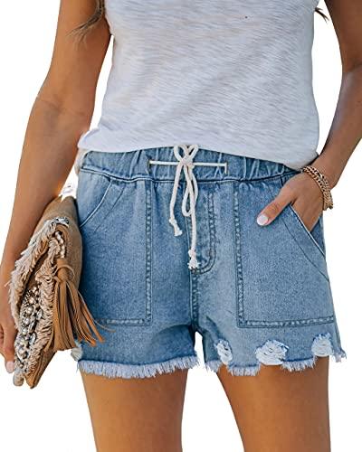QUEEN PLUS Women's Mid Rise Elastic Waist Denim Shorts Frayed Raw Hem Jean Shorts Casual Shorts LightBlue M