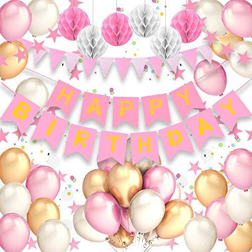 Pushingbest Decoraciones Cumpleaños, Decoraciones de la Fiesta de cumpleaños Pancarta de cumpleaños con Globos de látex, 6 Pompones de Papel de Seda, 1 Pieza de Guirnalda de cumpleaños. (Rosado )
