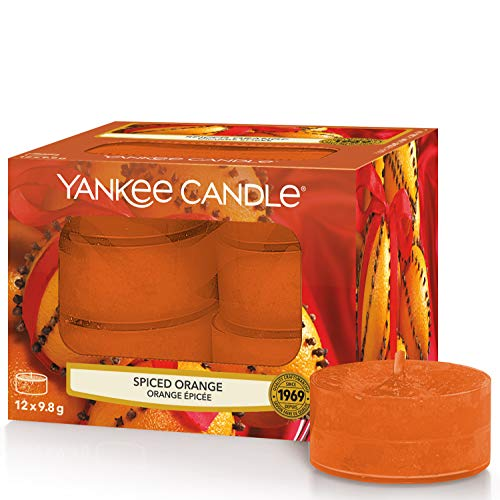 YANKEE CANDLE Naranja especiada Velas de Té Aromáticas Paquete de 12 Unidades, Orange, 8.7x8.3x6.3 cm