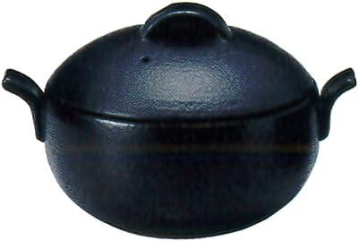 三陶 萬古焼 ビータブリュ6号土鍋 ブラック 18.5x8.5cm 1.4L 106547 26-10654 直火・レンジ・オーブン対応