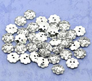 weddings etc. card making 50 Tiny white flower shaped buttons crafts