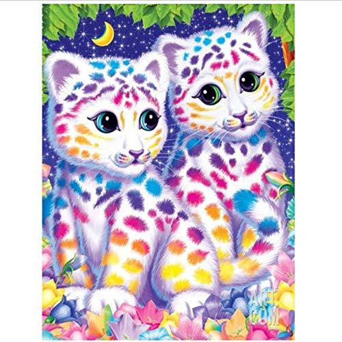 JUNYYANG Leopardo Coloreado Taladro Completo Diamond Painting 5D Animal DIY Kits para el hogar Decoración de la Pared Regalo Rhinestone Crystal Crystal Bordado Cruz, 40x50cm