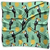 Bufanda cuadrada de seda, tucanes tropicales y piñas, diadema cuadrada, bonitas diademas para gimnasio deportivo, 100
