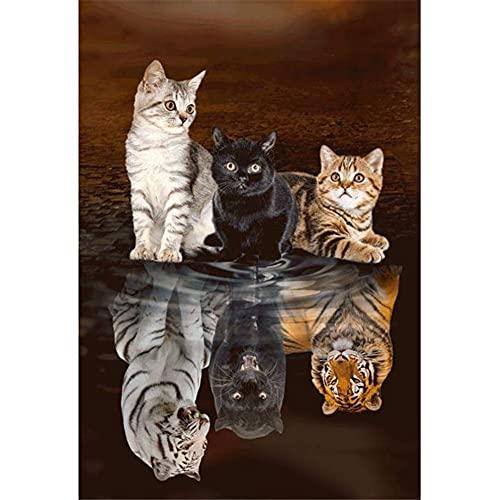 5D Pintura Diamante Painting Kit Tigre gato reflejado DIY Taladro Completo Adultos Niño Punto Cruz Cuadro Grande Puzzle Rhinestone Bordado Art Home Pared De 45x60cm