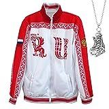 Anime Yuri!!! on ICE Victor Nikiforov Coat Cosplay Costume Zip-up Sportswear Jacket Printed Athletic Uniform with Necklace